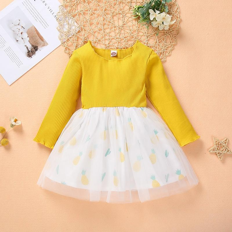 Pineapple Pattern Patchwork Tulle Dress for Toddler Girl