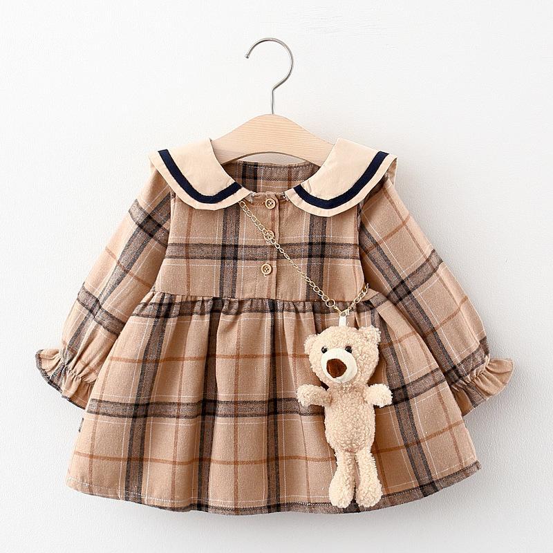 Plaid Lapel Collar Dress for Toddler Girl