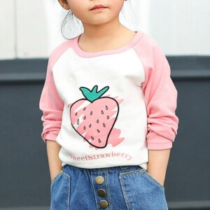 Strawberry Pattern Long Sleeve T-shirt for Girl