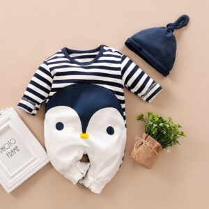 2-piece Baby Long-sleeved Penguin Striped Jumpsuit and Hat