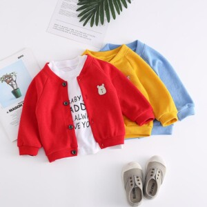 Cartoon Design Sweater Knit Cardigan for Toddler Boy