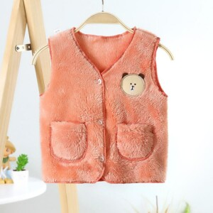 Cute Bear Pattern Plush Vest with Pocket