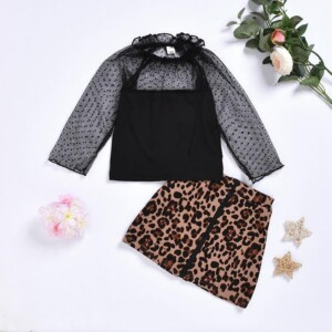 2-piece Casual Solid Tops & Leopard Shorts for Toddler Girl