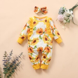 2-piece Sunflower Jumpsuit for Baby Girl