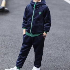 2-piece Letter Pattern Hooded Coat & Pants for Boy