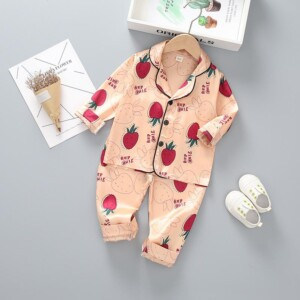 2-piece Strawberry Printed Pajamas for Toddler Girl
