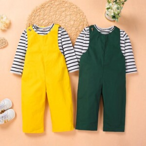 2-piece Striped Tops & Overalls for Toddler Girl