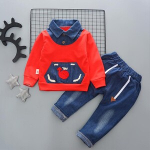 2-piece Color-block Shirt & Jeans for Toddler Boy
