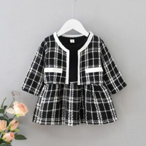 2-piece Plaid Thick Dress Sets for Toddler Girl