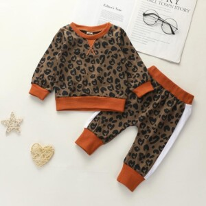 2-piece Leopard Pattern Tops & Pants for Baby