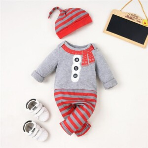 2-piece Christmas Stripes Jumpsuit & Hat for Baby