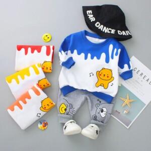 2-piece Cartoon Design Sweatshirts & Jeans for Toddler Boy