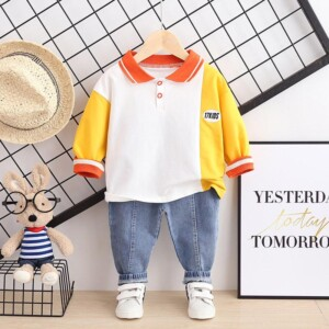 2-piece Color-block Long Sleeve T-shirt & Pants for Toddler Boy