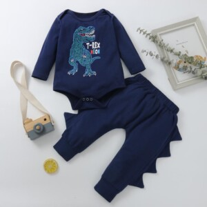2-piece Dinosaur Pattern Bodysuit & Pants for Baby Boy