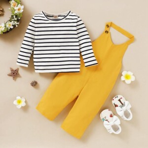 2-piece Striped Tops & Solid Dungarees for Toddler Girl