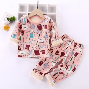 2-piece Geometric Pattern Pajamas Sets for Toddler Girl
