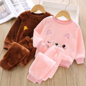 2-piece Animal Pattern Fleece-lined Pajamas Sets for Toddler Girl
