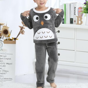 2-piece Owl Pattern Fleece-lined Pajamas Sets for Boy