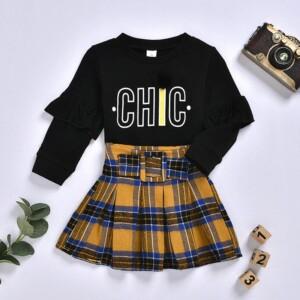 2-piece Letter Pattern T-shirt & Short Skirt for Toddler Girl
