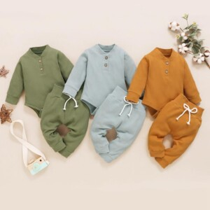 2-piece Cotton Long-sleeve Bodysuit and Pants Set