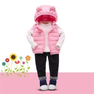 Winter Solid Hooded Gilet for Toddler Girl