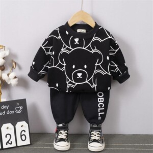 2-piece Bear Pattern Hoodie & Pants for Toddler Boy