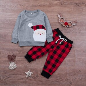 2-piece Christmas Hoodie & Plaid Pants for Toddler