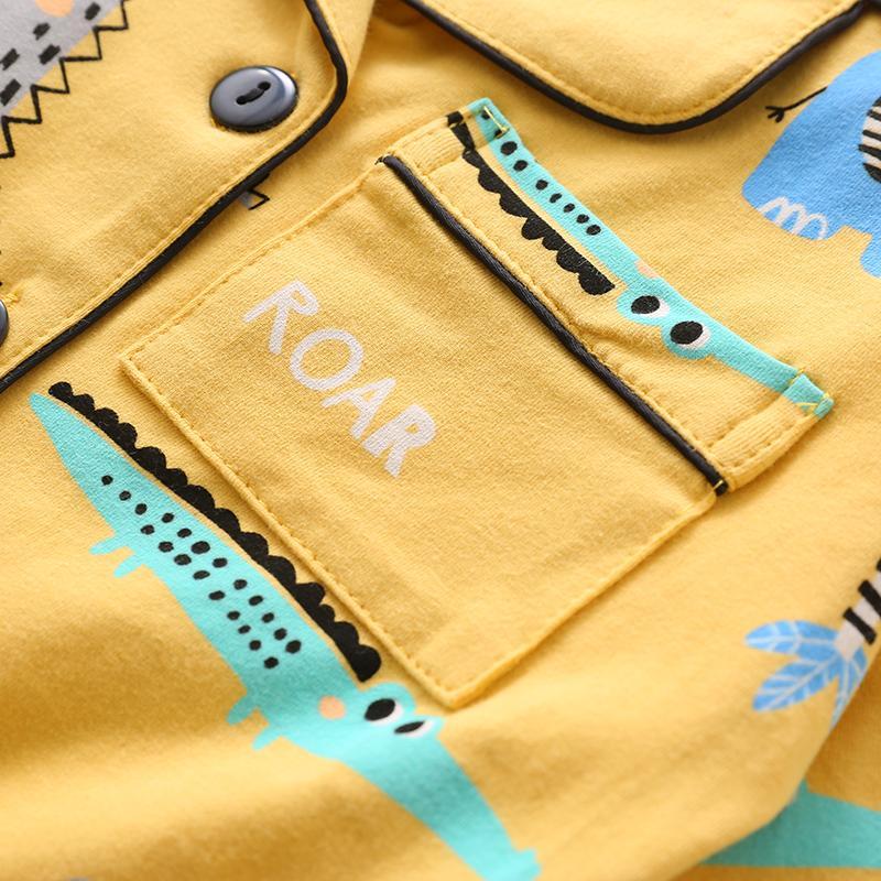 2-piece Cartoons Pattern Pajamas Sets for Toddler Boy