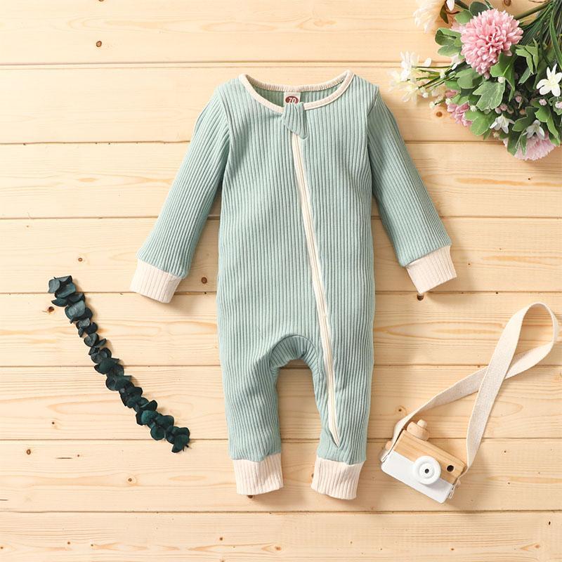 Cotton Long-sleeve Zipper Jumpsuit