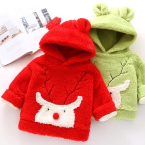 Christmas Deer Pattern Plush Sweatshirts for Toddler Girl