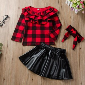 3-piece Plaid Pattern clothes & Short skirt & Headband for Toddler Girl