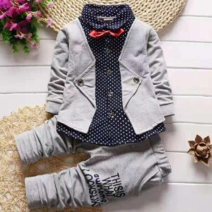 2-piece Gentleman Suit & Letter Pattern Pants for Toddler Boy