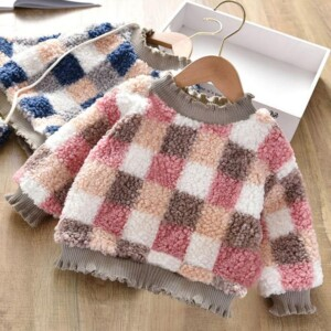 Plaid Fleece-lined Hoodie for Toddler Girl