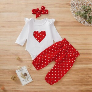 2-piece Casual Dot Long-sleeve Bodysuit and Pants Set with Headband