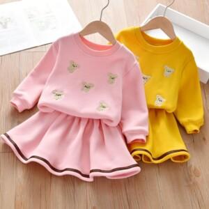 2-piece Fleece-lined Bear Pattern Dress Set for Toddler Girl