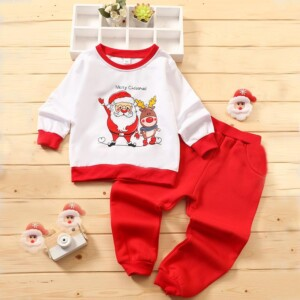 2-piece Christmas Hoodie & Pants for Toddler Girl