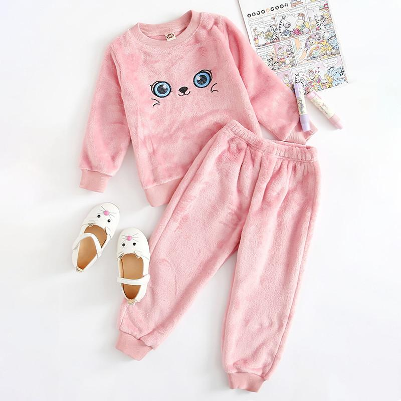 2-piece Cartoon Pattern Flannel Pajamas Sets for Toddler Girl