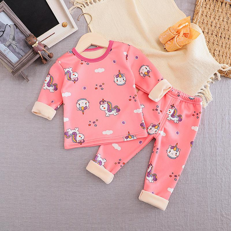 2-piece Fleece-lined Pajamas Sets for Toddler Girl