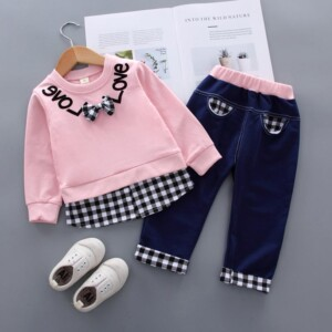2pcs Fashion Color-block Plaid Love Print Hoodies and Pants