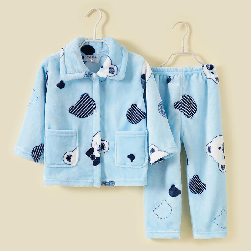 2-piece Winter Cartoon Design Pajamas Sets for Toddler Boy