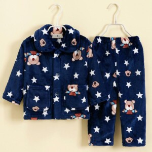 2-piece Winter Cartoon Design Pajamas Sets for Toddler Boy
