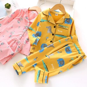 2-piece Cartoons Pattern Pajamas Sets for Toddler Boy