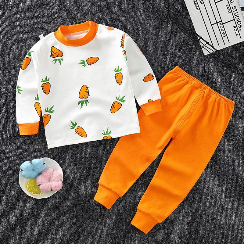 2-piece Strawberry Pattern Pajamas Sets for Toddler Girl
