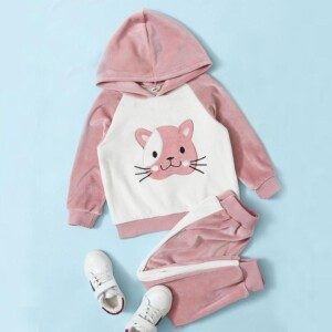 2-piece Cat Pattern Hoodie & Pants for Toddler Girl
