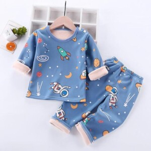 2-piece Cartoon Design Fleece-lined Pajamas Sets for Toddler Boy