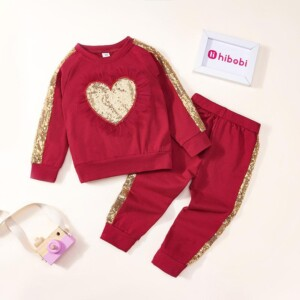 2-piece Heart-shaped Pattern Hoodie & Pants for Toddler Girl