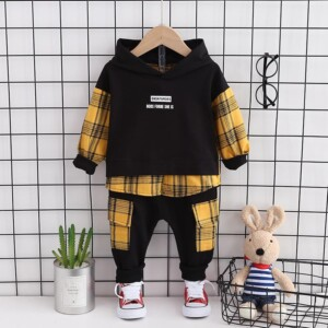 2-piece Plaid Hooded Sweatshirt and Pants Set(No Shoes)