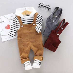2-piece Striped Hoodie & Solid Dungarees for Toddler Boy