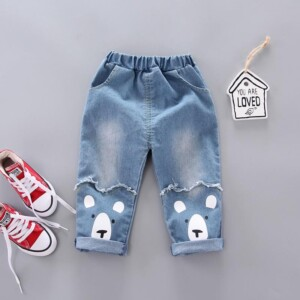 Casual Dog Print Jeans