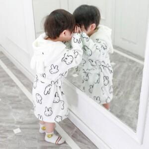 Rabbit Fleece-lined Hooded Bathrobe for Toddler Boy